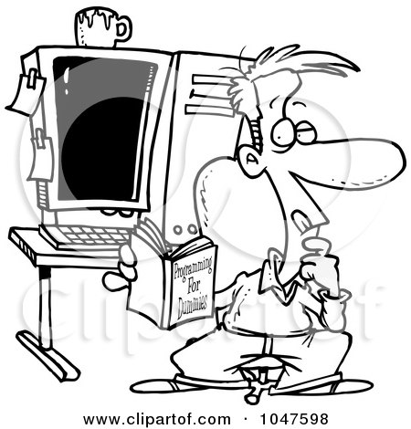 Cartoon Black And White Outline Design Of A Computer Programmer In