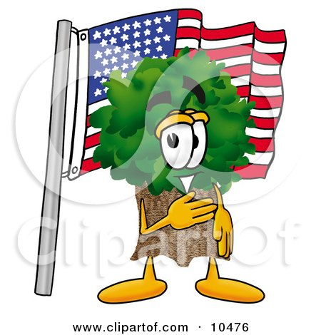 Tree Mascot Cartoon Character Pledging Allegiance to an American Flag Posters, Art Prints