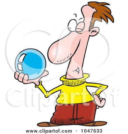 Cartoon Guy Gazing Into A Crystal Ball Posters, Art Prints