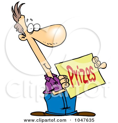 cartoon man holding a prizes sign posters  art prints by high resolution clipart yearbook high resolution clipart software
