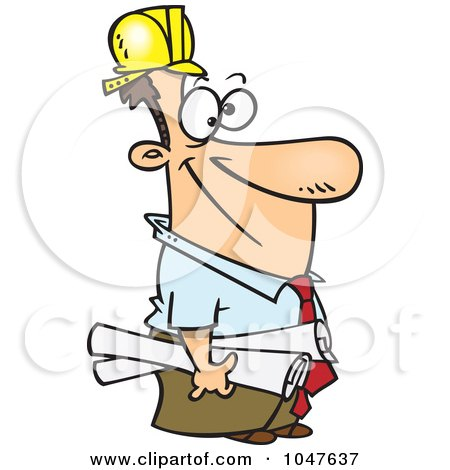 Royalty-Free (RF) Clip Art Illustration of a Cartoon Construction Manager by toonaday