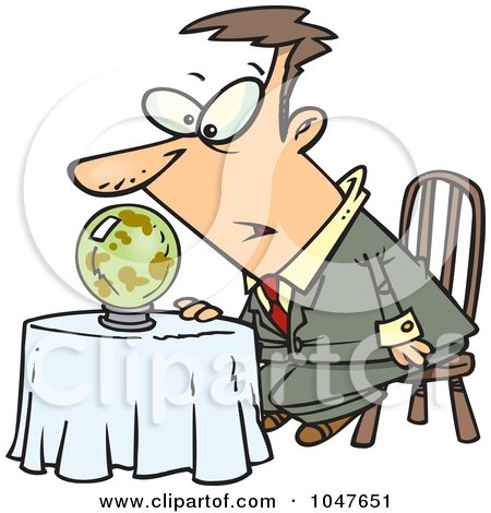 Royalty-Free (RF) Clip Art Illustration of a Cartoon Businessman Gazing Into A Dark Crystal Ball by toonaday