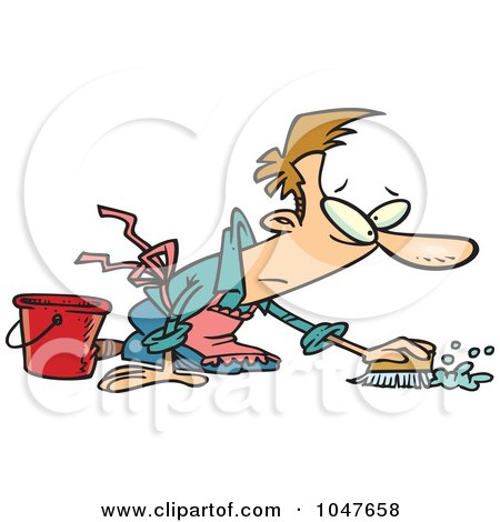 Royalty-Free (RF) Clip Art Illustration of a Cartoon Guy Scrubbing A Floor by toonaday