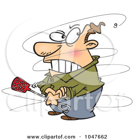 Royalty-Free (RF) Clip Art Illustration of a Cartoon Fly Annoying A Guy by toonaday
