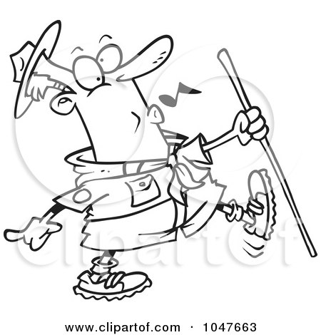 Royalty-Free (RF) Clip Art Illustration of a Cartoon Black And White Outline Design Of A Whistling Scout Master by toonaday