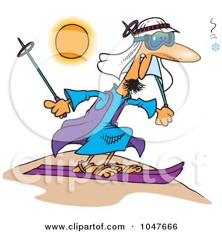 Royalty-Free (RF) Clip Art Illustration of a Cartoon Guy Sand Skiing by toonaday