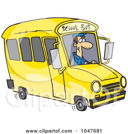 Royalty-Free (RF) Clip Art Illustration of a Cartoon School Bus Driver by toonaday