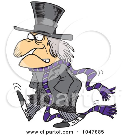 Clipart Of A Cartoon Black And White Grumpy Scrooge Saying