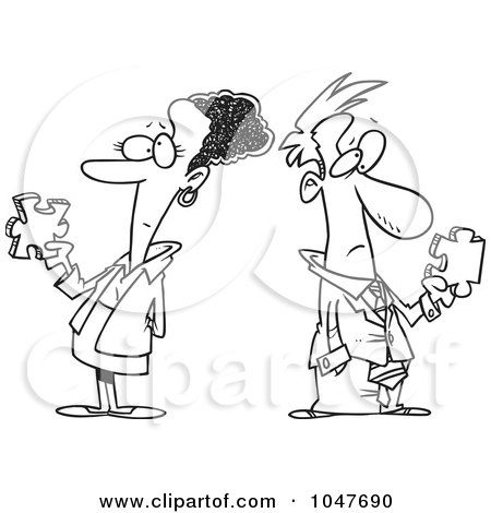 Royalty-Free (RF) Clip Art Illustration of a Cartoon Black And White Outline Design Of A Puzzled Business Man And Woman by toonaday