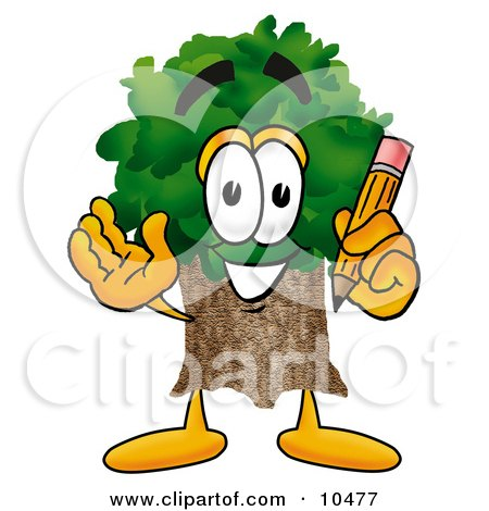 Clipart Picture of a Tree Mascot Cartoon Character Holding a Pencil by Toons4Biz