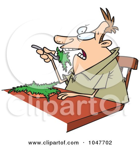Royalty-Free (RF) Clip Art Illustration of a Cartoon Guy Eating Salad by toonaday