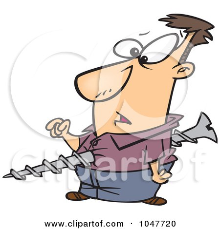 Royalty-Free (RF) Clip Art Illustration of a Cartoon Screwed Guy by Ron Leishman