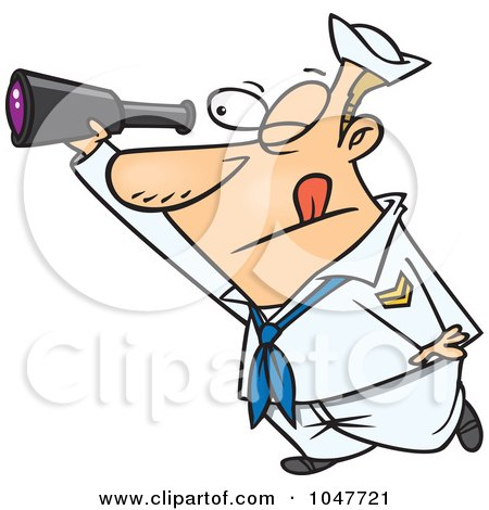 Royalty-Free (RF) Clip Art Illustration of a Cartoon Sailor Using A Telescope by toonaday