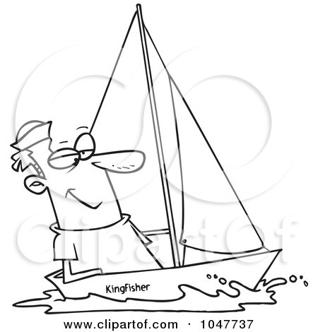 Royalty-Free (RF) Clip Art Illustration of a Cartoon Black And White Outline Design Of A Guy Sailing by toonaday