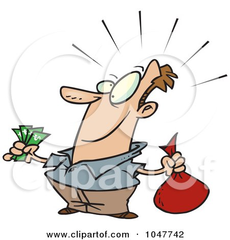 Royalty-Free (RF) Clip Art Illustration of a Cartoon Guy With A Lot Of Savings by toonaday