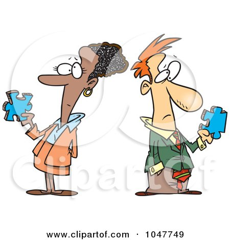 Royalty-Free (RF) Clip Art Illustration of a Cartoon Puzzled Business Man And Woman by toonaday