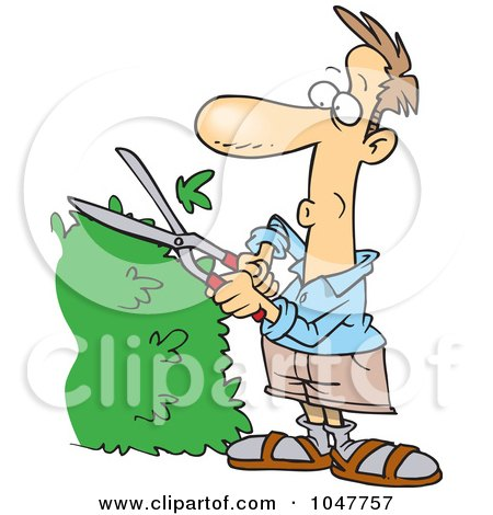Royalty-Free (RF) Clip Art Illustration of a Cartoon Guy Trimming A Hedge by toonaday