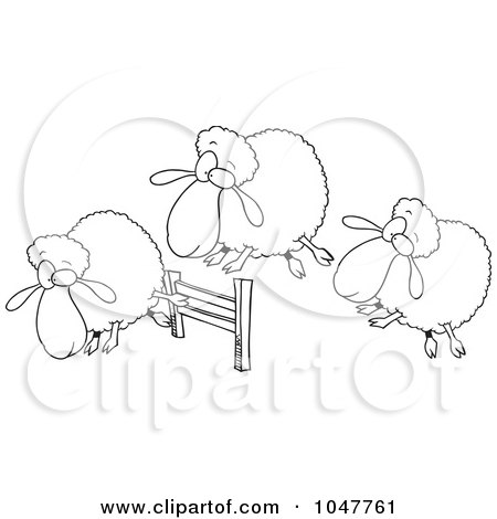 Royalty-Free (RF) Clip Art Illustration of a Cartoon Black And White Outline Design Of A Herd Of Sheep Leaping A Fence by toonaday