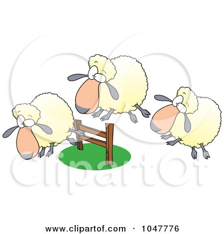 Royalty-Free (RF) Clip Art Illustration of a Cartoon Herd Of Sheep Leaping A Fence by toonaday