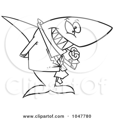 Royalty-Free (RF) Clip Art Illustration of a Cartoon Black And White Outline Design Of A Business Shark Picking His Teeth by toonaday