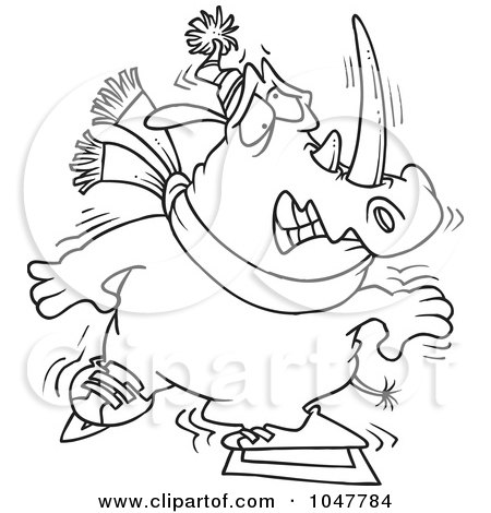 Royalty-Free (RF) Clip Art Illustration of a Cartoon Black And White Outline Design Of A Shaky Ice Skating Rhino by toonaday