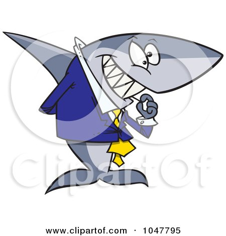 Royalty-Free (RF) Clip Art Illustration of a Cartoon Business Shark Picking His Teeth by toonaday