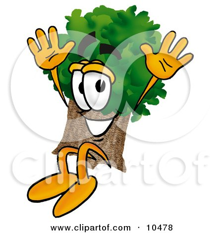 Clipart Picture of a Tree Mascot Cartoon Character Jumping by Toons4Biz