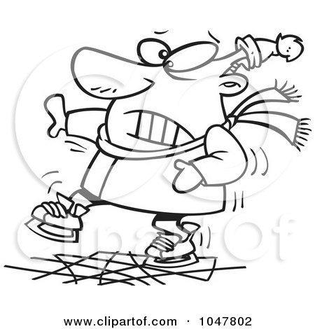Royalty-Free (RF) Clip Art Illustration of a Cartoon Black And White Outline Design Of A Shaky Ice Skater by toonaday