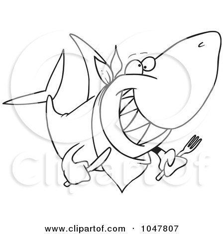 Royalty-Free (RF) Clip Art Illustration of a Cartoon Black And White Outline Design Of A Hungry Shark by toonaday