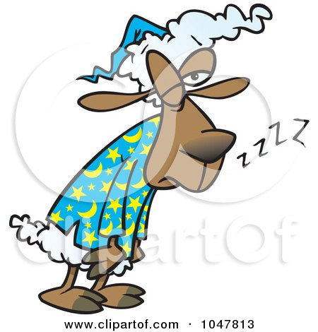 Royalty-Free (RF) Clip Art Illustration of a Cartoon Tired Sleepless Sheep by toonaday