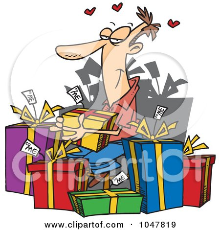 Royalty-Free (RF) Clip Art Illustration of a Cartoon Guy Giving Himself Gifts by toonaday