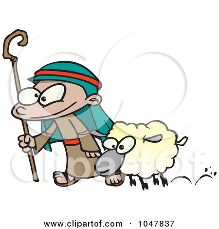 shepherd and sheep. Cartoon Shepherd And Sheep