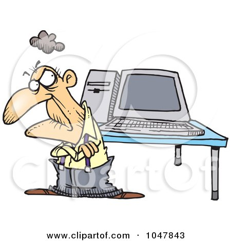 Royalty free rf clip art illustration of a cartoon grumpy old man