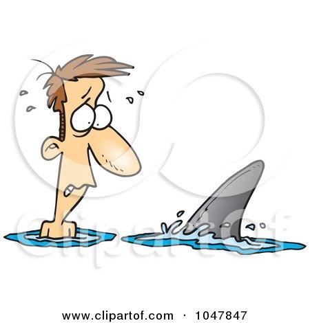 Royalty-Free (RF) Clip Art Illustration of a Cartoon Shark Circling A Man by toonaday