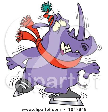 Royalty-Free (RF) Clip Art Illustration of a Cartoon Shaky Ice Skating Rhino by toonaday
