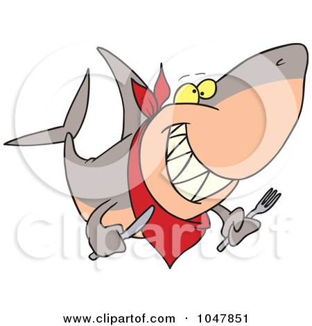 Royalty-Free (RF) Clip Art Illustration of a Cartoon Hungry Shark by toonaday