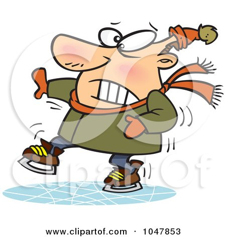 Royalty-Free (RF) Clip Art Illustration of a Cartoon Shaky Ice Skater by toonaday