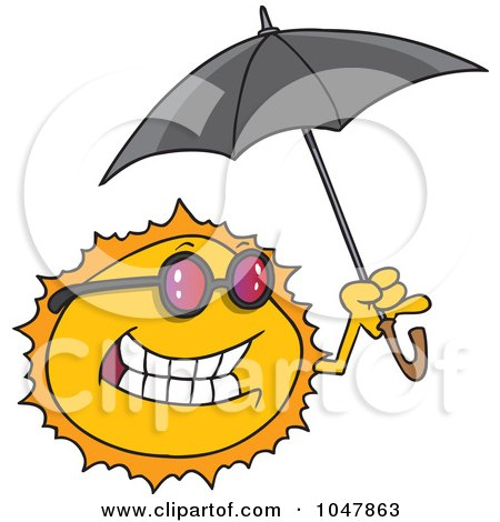 Royalty-Free (RF) Clip Art Illustration of a Cartoon Sun Holding An Umbrella by toonaday