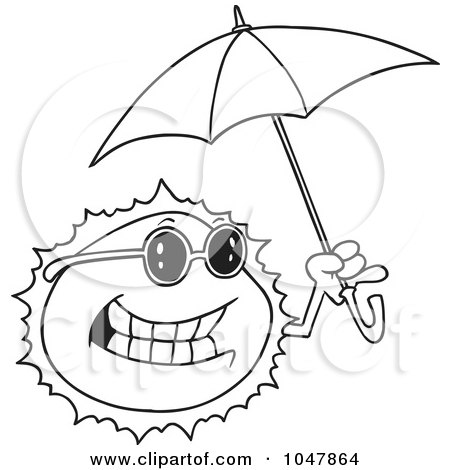 Royalty-Free (RF) Clip Art Illustration of a Cartoon Black And White Outline Design Of A Sun Holding An Umbrella by toonaday
