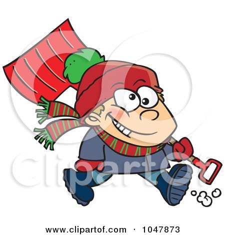 Royalty-Free (RF) Clip Art Illustration of a Cartoon Winter Boy Carrying A Snow Shovel by toonaday