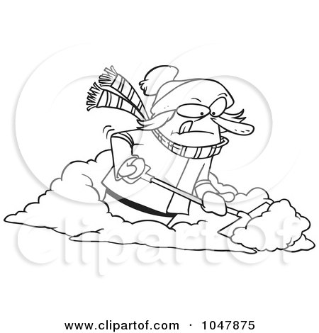 Royalty-Free (RF) Clip Art Illustration of a Cartoon Black And White Outline Design Of A Woman Shoveling Snow by toonaday