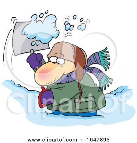 Royalty-Free (RF) Clip Art Illustration of a Cartoon Guy Shoveling Snow by toonaday