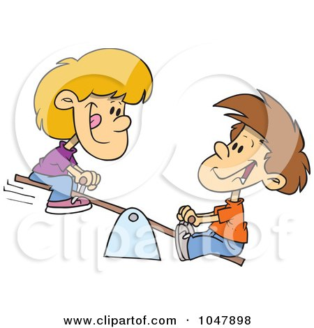 Royalty-Free (RF) Clip Art Illustration of a Cartoon Boy And Girl On A Teeter Totter by toonaday