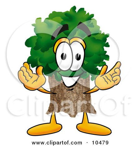 Tree Mascot Cartoon Character With Welcoming Open Arms Posters, Art Prints