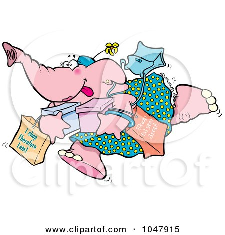 Royalty-Free (RF) Clip Art Illustration of a Cartoon Shopping Elephant by toonaday