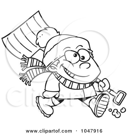 Royalty-Free (RF) Clip Art Illustration of a Cartoon Black And White Outline Design Of A Winter Boy Carrying A Snow Shovel by toonaday