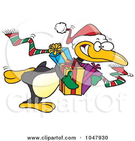 Royalty-Free (RF) Clip Art Illustration of a Cartoon Giving Christmas Penguin by toonaday