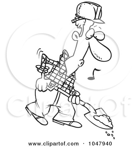 Royalty-Free (RF) Clip Art Illustration of a Cartoon Black And White Outline Design Of A Digging Construction Worker by toonaday