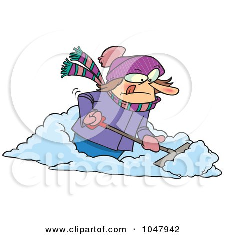 Royalty-Free (RF) Clip Art Illustration of a Cartoon Woman Shoveling Snow by toonaday