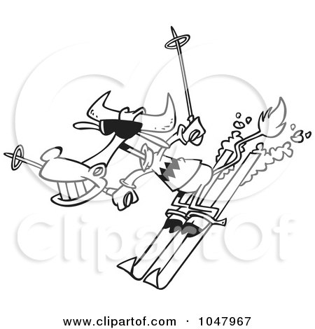 Royalty-Free (RF) Clip Art Illustration of a Cartoon Black And White Outline Design Of A Skiing Cow by toonaday